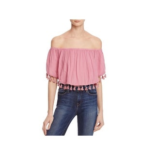 On The Road Womens Pullover Top Off-The-Shoulder Tassel