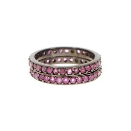 Genuine Ruby in sterling silver ring set of 2