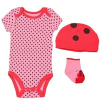 Baby Girls Pink Red Black Lady Bug Polka Dot Cap Socks Bodysuit 3 Pc Set