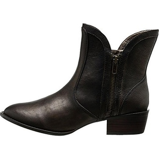 Very Volatile Womens Moffit Leather Metallic Ankle Boots