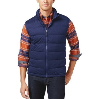 Weatherproof 32 Degrees Stretch Quilted Down Vest Small S Denim Blue Heather