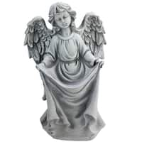 "16.5"" Stone Gray Angel Decorative Outdoor Garden Bird Feeder Statue"