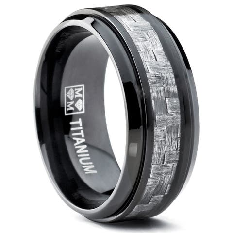 Oliveti 9MM Black Titanium Men's Wedding Band Ring with Wide Gray Carbon Fiber Inlay, Comfort Fit