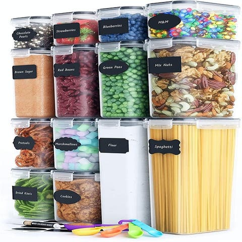 Airtight Food Storage Container Set 14 PC Kitchen & Pantry Organization BPA Free Plastic Canisters with Durable Lids Ideal
