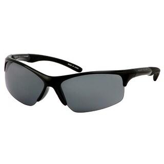 Perry Ellis Mens Bottom Rimless Plastic Active Sunglasses Black PE72-1, Includes Perry Ellis Pouch, 100% UV Protection