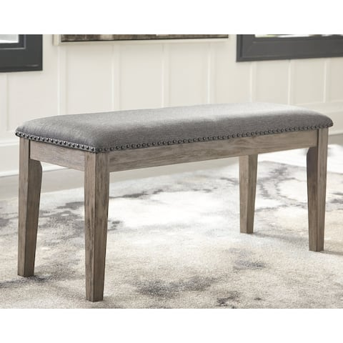 Aldwin Upholstered Antique Grey Bench