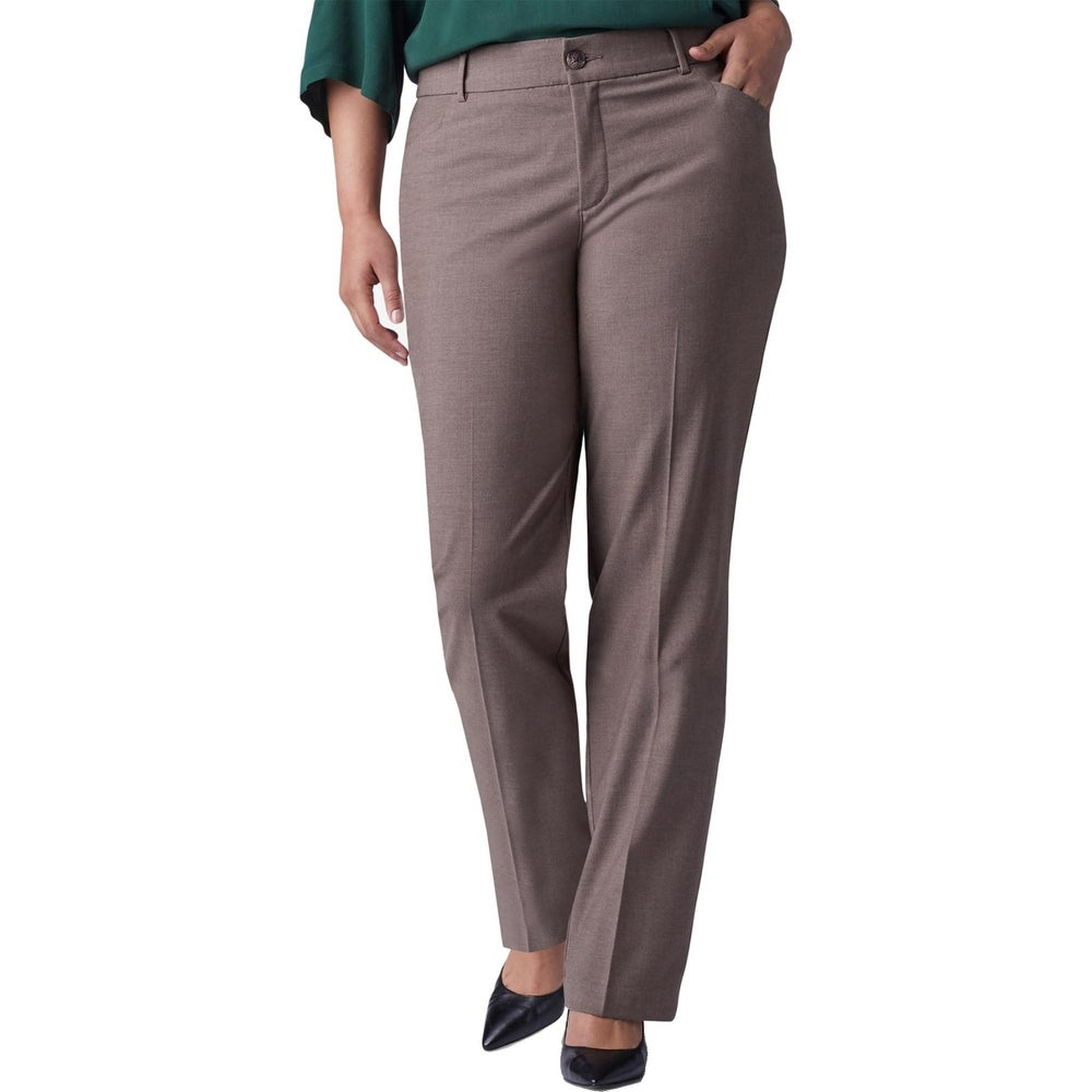 Lee Platinum Label Womens Plus Trouser Pants No-Gap Waist Flexible - Falcon Heather