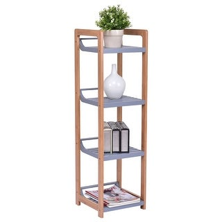 Gymax Bamboo 4 Tier Multifunction Storage Tower Rack Shelving Shelf Units Stand