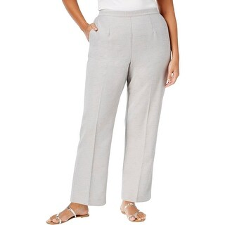 Alfred Dunner Womens Plus Casual Pants Solid Flat