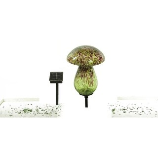 Benzara BM148375 Solar Glass Mushroom with 10 LED Lights, Multicolor