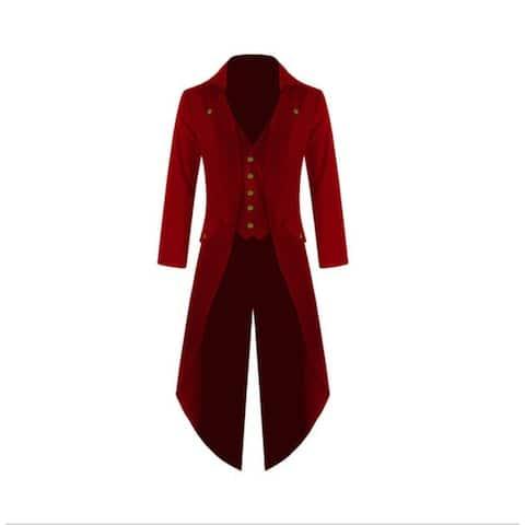 Men's Victorian Steampunk Vintage Asymmetrical Tux Tailcoat Tuxedo - Red - 2XL