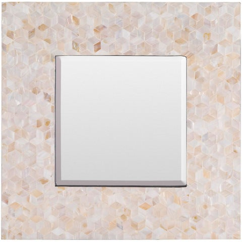 """21.7"""" Ivory and Sand Brown In-layed Square Mosaic Wall Decor with Mirror"""