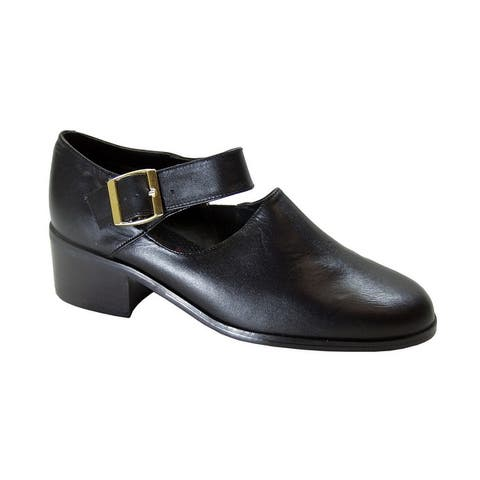 PEERAGE Petra Womens Extra Wide Width Leather Ankle Strap Shoes