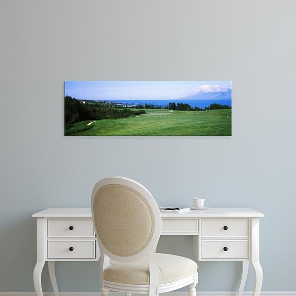 Easy Art Prints Panoramic Images's 'Golf course at the oceanside, Kapalua Golf course, Maui, Hawaii, USA' Canvas Art