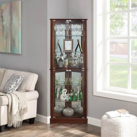 BELLEZE Woody Corner Curio Cabinet Glass Door 6 Shelves, Walnut - standard