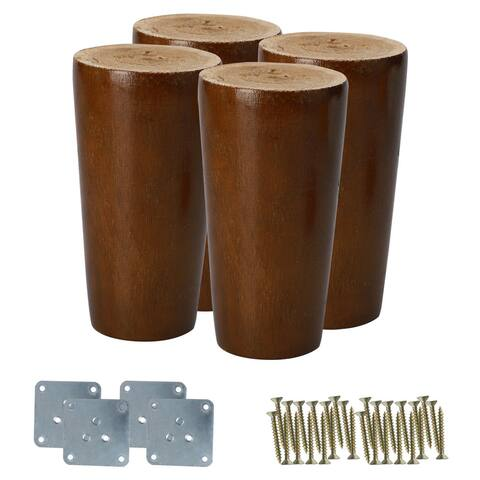 "3"" Round Solid Wood Furniture Leg Chair Table Cabinet Feet Replacement Set of 4 - Walnut Brown"