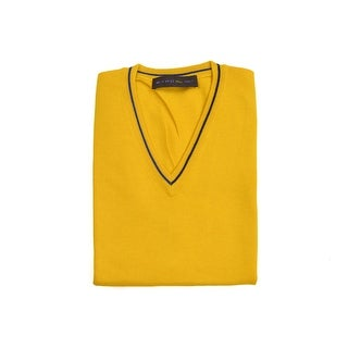Etro Yellow Pure Wool Duo Tone Border V Neck Sweater Vest