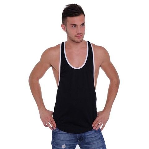 Men's Dri Fit Tank Top Open Side Racer Back Gym Workout Rib Ringer Muscle Shirt