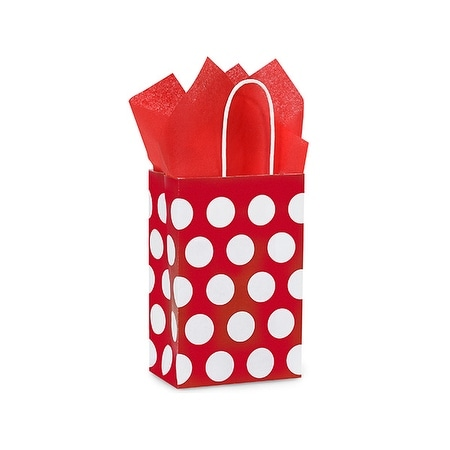 """Pack of 25, Rose Red Polka Dots Paper Bags 5.25 X 3.5 X 8.25"""" Great For Christmas Or Valentine Packaging"""