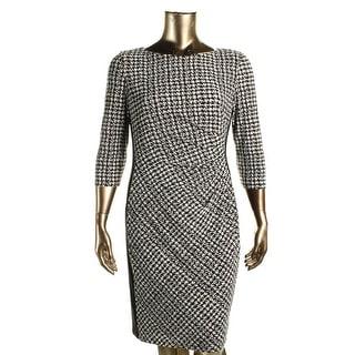 Lauren Ralph Lauren Womens Wear to Work Dress Houndstooth Gathered