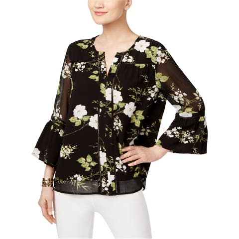Fever Womens Floral Knit Blouse