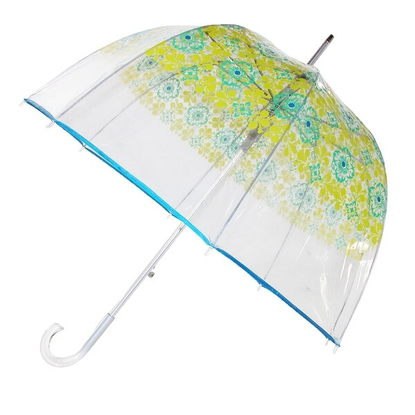 Totes Women's Auto Open Blue Filigree Bubble Stick Umbrella - multi-color