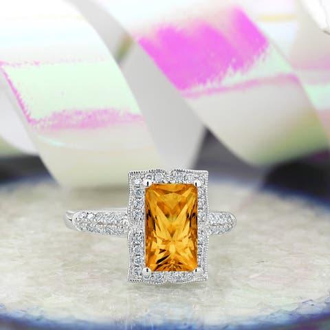 Auriya Vintage 2 5/8ct Emerald-cut Citrine and Halo Diamond Engagement Ring 1/3ctw 14k Gold