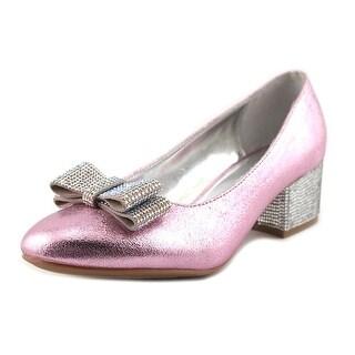 Nina Kids Gisel Round Toe Leather Heels
