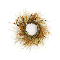 """Set of 2 Green and Orange Mini Sunflower Artificial Paper Wreath 31"""""""