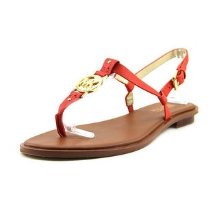 Michael Michael Kors Sondra Sandal Women Open-Toe Leather Red Slingback Sandal