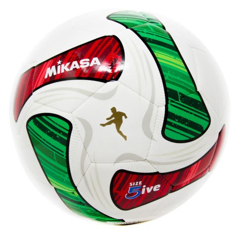 Mikasa SWA Series Size 5 Soccer Ball, White/Red/Green