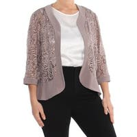 R&M RICHARDS Womens Beige Sequin Lace Evening Jacket Plus  Size: 14W
