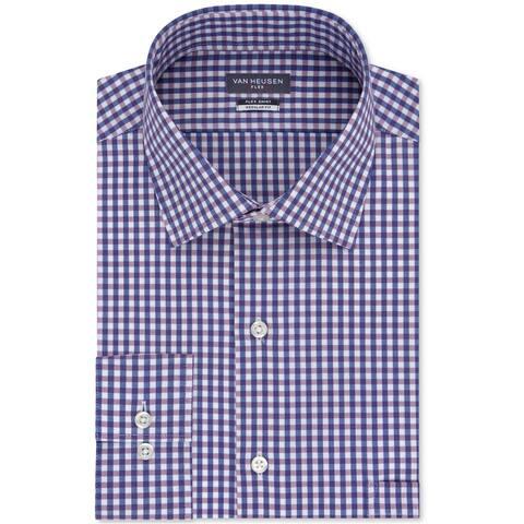 """Van Heusen Mens Wrinkle-Free Flex Collar Button Up Dress Shirt, purple, 14.5"""" Neck 32""""-33"""" Sleeve"""