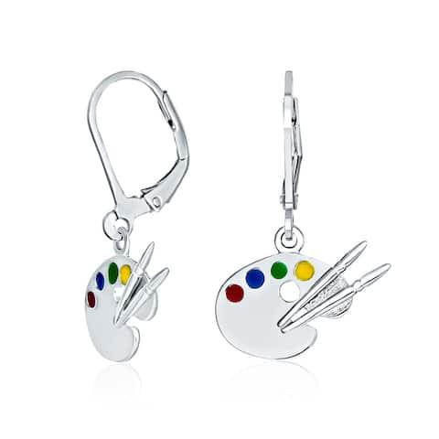 Painter Artist Palette Dangle Leverback Earrings 925 Sterling Silver - 1