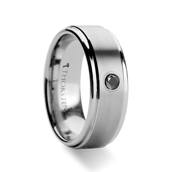 Coventry Raised Brushed Center Tungsten Ring With Black Diamond