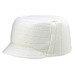 Square Rib knitted short visor Beanie - White