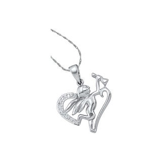 Angel Pendant 10K White-gold With Diamonds 0.05 Ctw By MidwestJewellery - White
