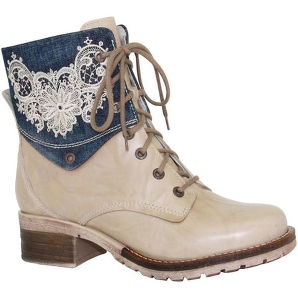 86b8af3aa2baaa Shop Dromedaris Women s Kara Denim Boot Beige Leather - Free Shipping Today  - Overstock - 14459201