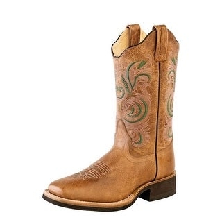 Old West Cowboy Boots Womens Scallop Broad Square Toe Tan Fry