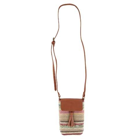 Sun N Sand Women's Colorful Striped Polystraw Crossbody Handbag - one size