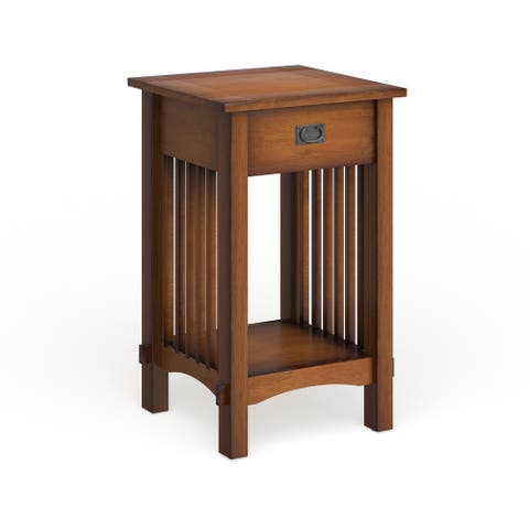 """Furniture of America Skiff Mission Hand-rubbed Oak Finish Wood End Table - 15.75""""W X 15.75""""D X 26""""H"""