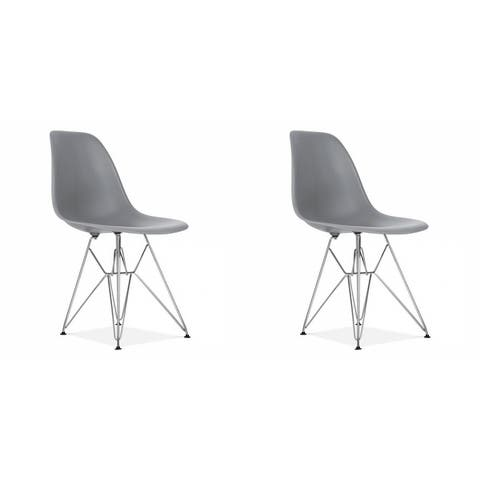 Adult Eiffel Style Plastic Dining Chair With Chrome base (set of Two)
