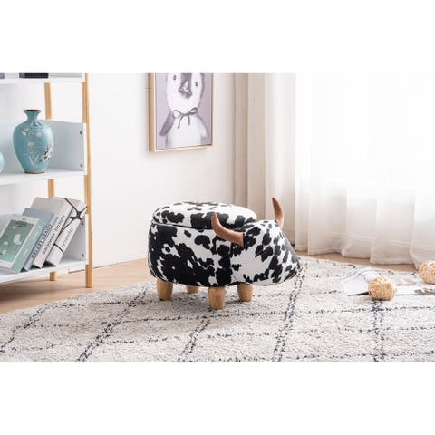 Connor the Cow Storage Upholstered Kids Ottoman