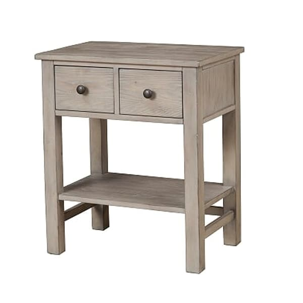 Transitional Nightstand with Two Drawers and Bottom Shelf, Gray - As Pictured. Opens flyout.