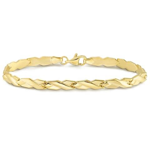 """Forever Last 10KT Gold Bonded over Silver 7.25"""" Yellow Bracelet"""
