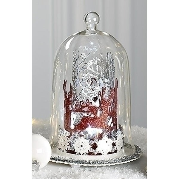 """6"""" Battery Operated LED Lighted Winter Santa Display Glass Dome Christmas Table Top Decoration"""