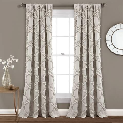 Lush Decor Ruffle Diamond Curtain Panel Pair