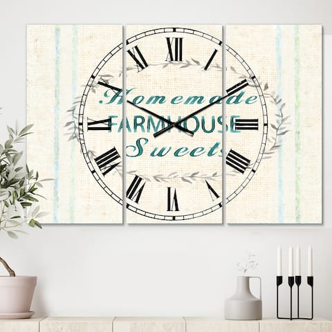 Designart 'Farmhouse Florals VIII' Cottage 3 Panels Oversized Wall CLock - 36 in. wide x 28 in. high - 3 panels