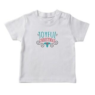 Joyful Christmas Text Christmas Leaves Graphic Girl's White T-shirt (5 options available)