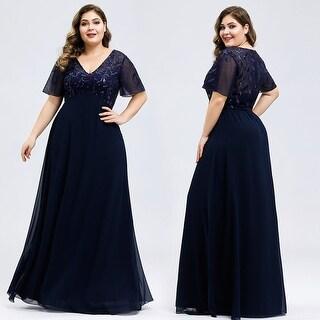 Ever-Pretty Women Plus Size Sequins V-neck Long Formal Evening Dresses 77062